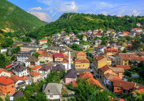 Historical Old Town of Travnik, Bosnia and Herzegovina, with plenty of red tile roofs and old mosques